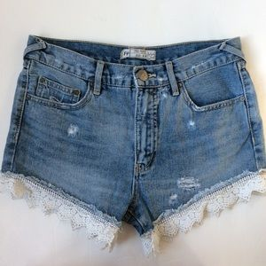 Free people lace trim jean shorts distressed